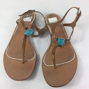Dolce Vita Brown T-Strap Jeweled Flat Sandals
